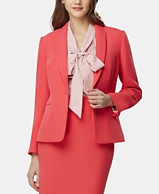 Tahari ASL Single-Button Peak-Lapel Blazer
