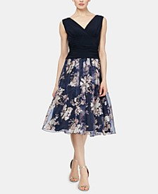 Ruched Floral-Print Dress