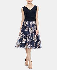 SL Fashions Ruched Floral-Print Dress