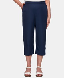 Alfred Dunner Petite In The Navy Lattice-Trim Capri Pants