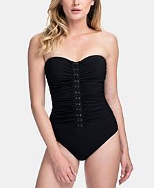 Moto Lace-Up Bandeau One-Piece Swimsuit