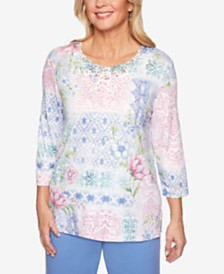 Alfred Dunner Petite The Summer Wind Embellished Lace-Trim Top
