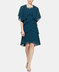Embellished Tiered Chiffon Dress & Capelet