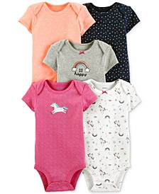 Baby Girls 5-Pk. Graphic Bodysuits