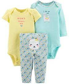 Baby Girls 3-Pc. Cotton Bodysuits & Pants Set