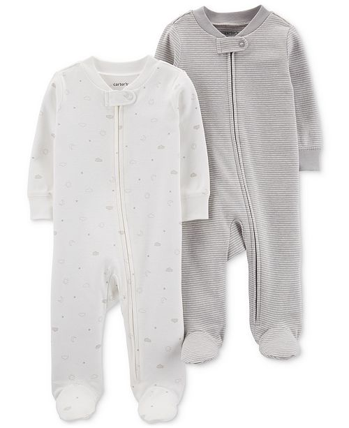 Carter's Baby Boys & Girls 2-Pk. Footed Cotton Coveralls
