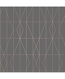 "Leveque Deco Diamond Geo Wallpaper - 396"" x 20.5"" x 0.025"""