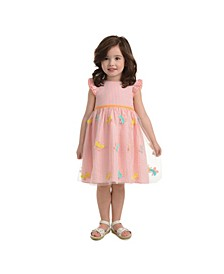 London Little Girls Coral Ruffle Sleeve Butterfly Stripe Dress