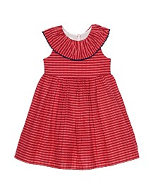 Laura Ashley Girl's Ruffle Collar Seersucker Dress
