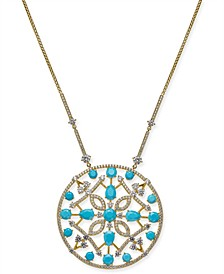 "Stone & Crystal Openwork 30"" Pendant Necklace, Created for Macy's"