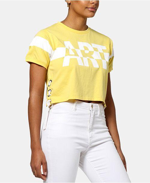 ARTISTIX Cotton Graphic Lace-Up T-Shirt