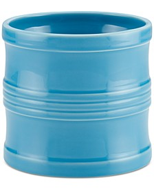 "Ceramics 7.5"" Tool Crock with Partition Insert, Aqua"