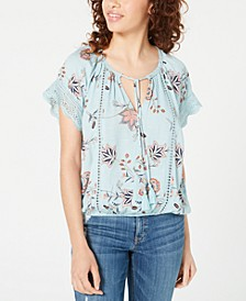 Juniors' Lace-Mix Peasant Top, Created for Macy's