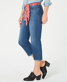 Style & Co Petite Scarf-Belt Cuffed Capri Jeans, Created for Macy's