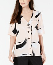 32be606f317c07 Alfani Printed Button-Up Top, Created for Macy's