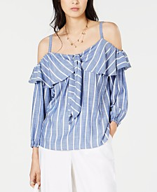 I.N.C. Flounce-Trim Striped Peasant Top, Created for Macy's