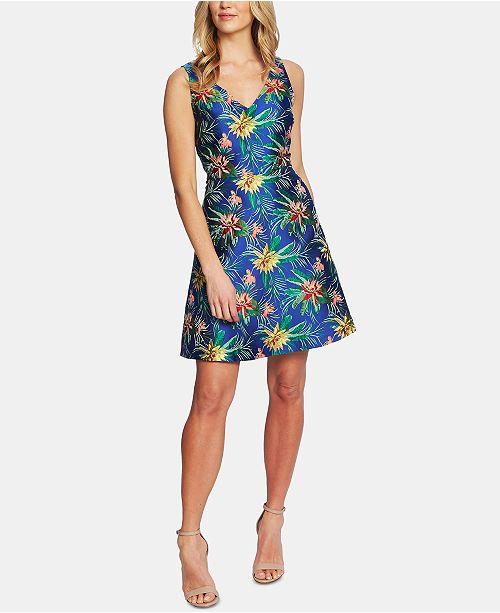 CeCe Tropical Jacquard V-Neck Dress