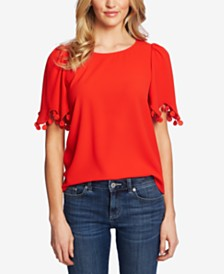 CeCe Embroidered-Trim Top