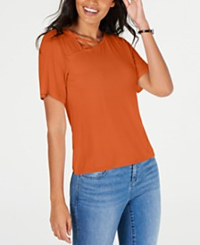 Thalia Sodi Asymmetric Lattice-Neck Top, Created for Macy's