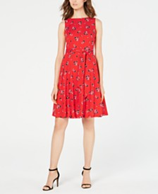 Anne Klein Cotton Floral-Print A-Line Dress
