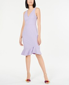 Betsey Johnson Petite Flounce-Hem Sheath Dress