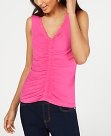 Thalia Sodi Ruched Necklace Top, Created for Macy's