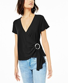Bar III Grommet Faux-Wrap Top, Created for Macy's