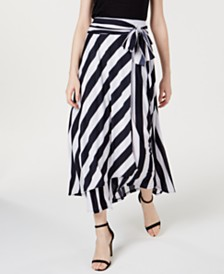 I.N.C. Tie-Front Striped Maxi Skirt, Created for Macy's