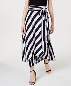055ddd56d I.N.C. Tie-Front Striped Maxi Skirt, Created for Macy's