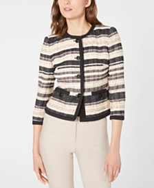 Anne Klein Striped Jacquard Jacket