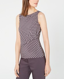 Anne Klein Sleeveless Printed Ruched Top