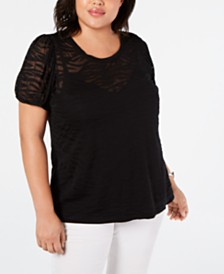 I.N.C. Plus Size Zebra Burnout Top, Created for Macy's