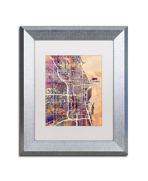 """Trademark Global Michael Tompsett 'Chicago City Street Map' Matted Framed Art - 11"""" x 14"""""""