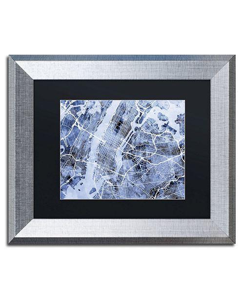 "Trademark Global Michael Tompsett 'New York City Street Map B&W' Matted Framed Art - 11"" x 14"""