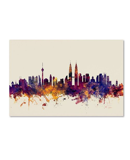"Trademark Global Michael Tompsett 'Kuala Lumpur Malaysia Skyline' Canvas Art - 12"" x 19"""