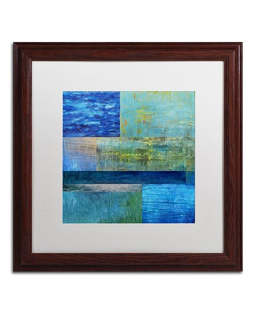 "Trademark Global Michelle Calkins 'Essence of Blue' Matted Framed Art - 16"" x 16"""