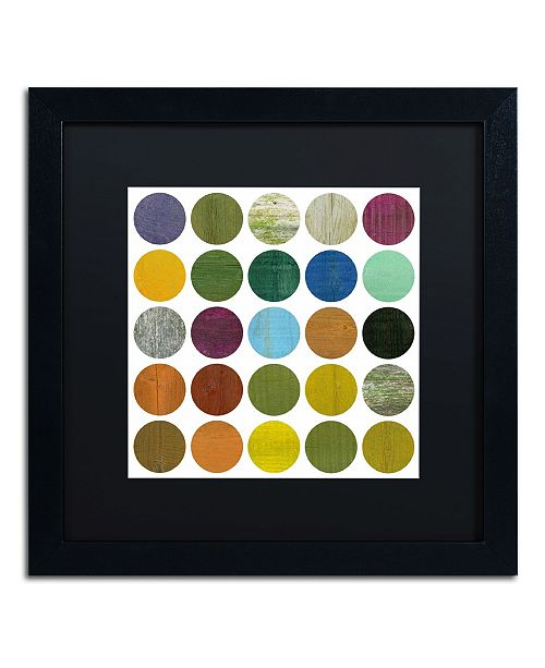 "Trademark Global Michelle Calkins 'Rustic Rounds 5.0' Matted Framed Art - 16"" x 16"""