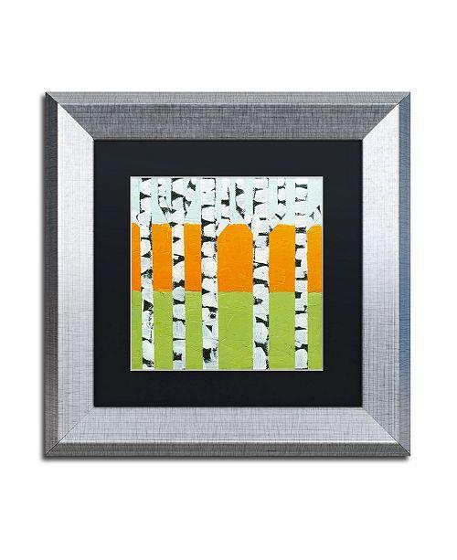 "Trademark Global Michelle Calkins 'Seasonal Birches - Spring' Matted Framed Art - 11"" x 11"""