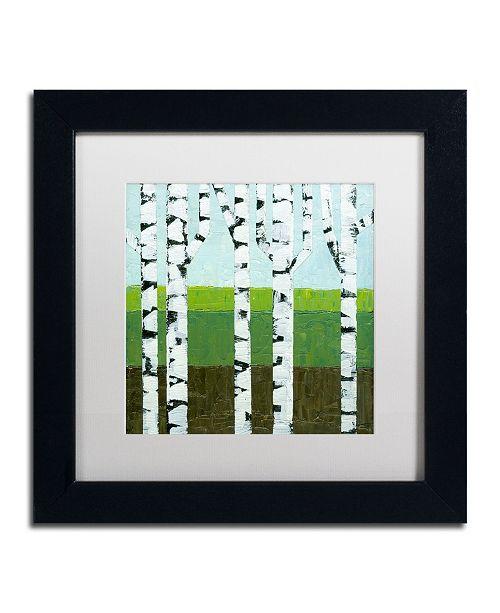 """Trademark Global Michelle Calkins 'Seasonal Birches - Summer' Matted Framed Art - 11"""" x 11"""""""