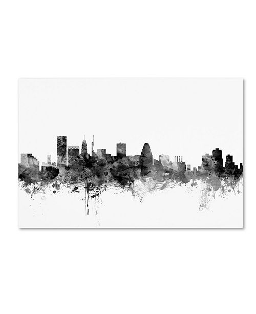 "Trademark Global Michael Tompsett 'Baltimore Maryland Skyline B&W' Canvas Art - 12"" x 19"""