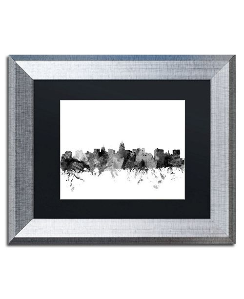 "Trademark Global Michael Tompsett 'Madison Wisconsin Skyline B&W' Matted Framed Art - 11"" x 14"""
