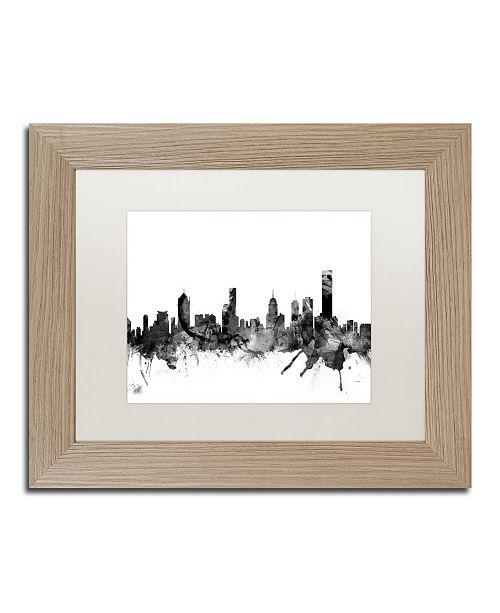 """Trademark Global Michael Tompsett 'Melbourne Skyline B&W' Matted Framed Art - 11"""" x 14"""""""