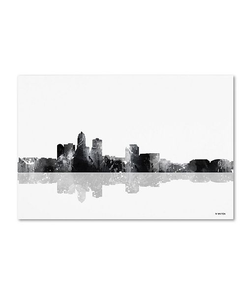 "Trademark Global Marlene Watson 'Des Moines Iowa Skyline BG-1' Canvas Art - 12"" x 19"""