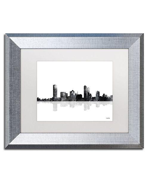"Trademark Global Marlene Watson 'Milwaukee Wisconsin Skyline BG-1' Matted Framed Art - 11"" x 14"""
