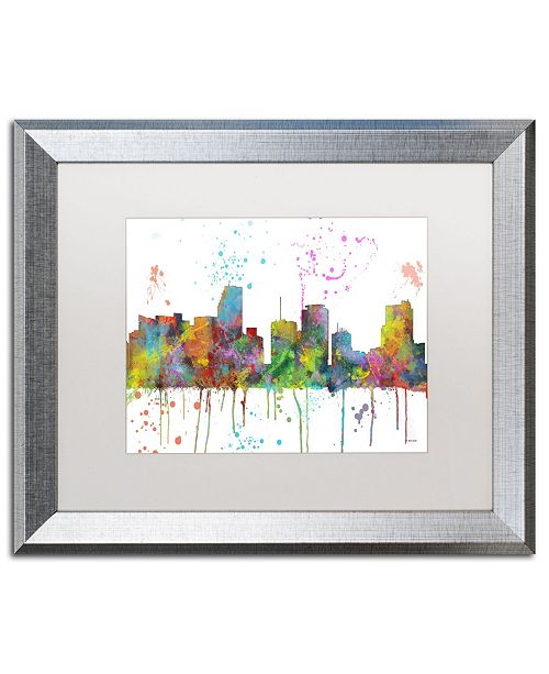 "Trademark Global Marlene Watson 'Miami Florida Skyline Mclr-1' Matted Framed Art - 16"" x 20"""