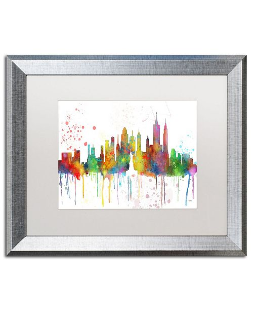 "Trademark Global Marlene Watson 'New York New York Skyline Mclr-1' Matted Framed Art - 16"" x 20"""