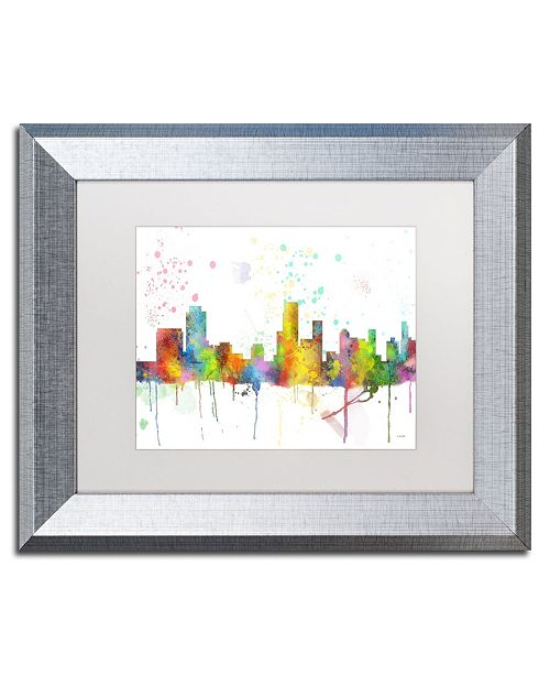 "Trademark Global Marlene Watson 'Newark New Jersey Skyline Mclr-1' Matted Framed Art - 11"" x 14"""