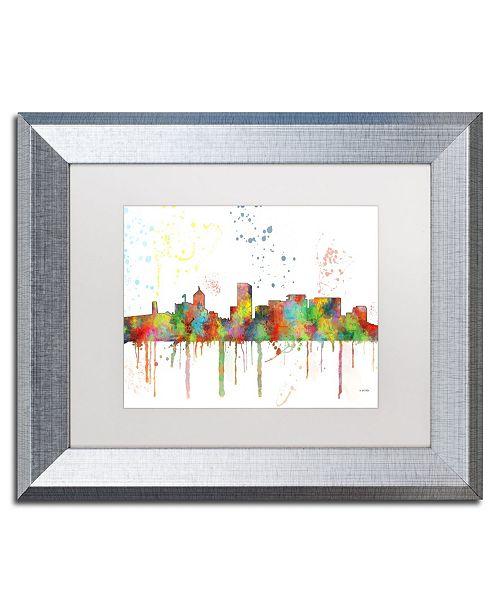 "Trademark Global Marlene Watson 'Portland Oregon Skyline Mclr-1' Matted Framed Art - 11"" x 14"""