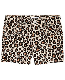Epic Thread Little Girls Leopard-Print Denim Shorts, Created for Macy's