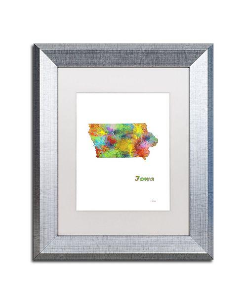 "Trademark Global Marlene Watson 'Iowa State Map-1' Matted Framed Art - 11"" x 14"""